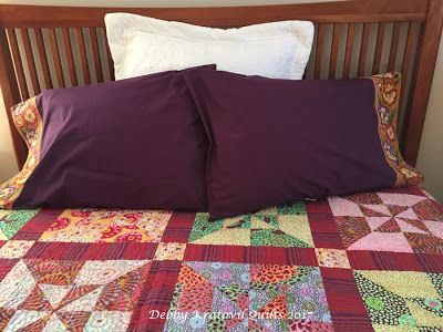 Use border fabric to trim purchased pillowcases. Tutorial on my blog: http://debbykratovilquilts.blogspot.com/2017/12/easy-matching-pillowcases-for-your.html