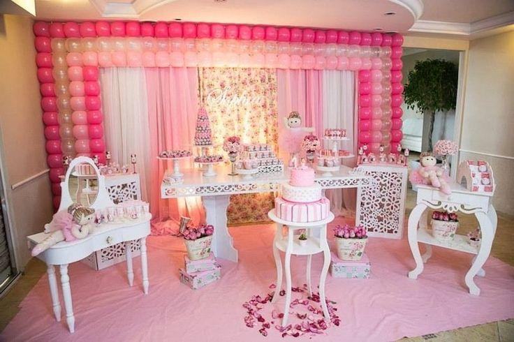 Festa infantil bailarina, com muito rosa