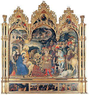 Gentile da Fabriano (Italian, c.1370–1427), Adoration of the Magi, 1423, Tempera on wood, 300 x 282 cm, Galleria degli Uffizi, Florence.