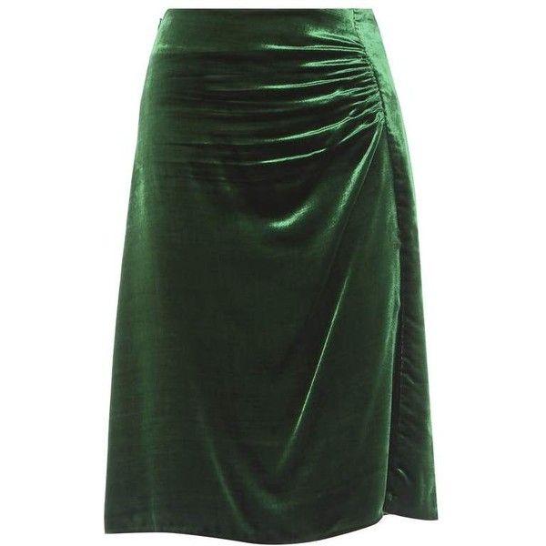 Prada Ruched Velvet Skirt (€915) ❤ liked on Polyvore featuring skirts, green, shirred skirt, green skirt, gathered skirt, velvet skirt and prada skirt