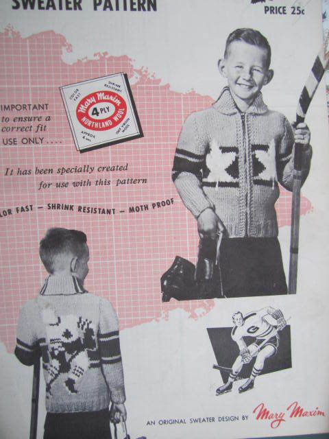 Canadian Hockey Player Cardigan Sweater Knit Mary Maxim No ...