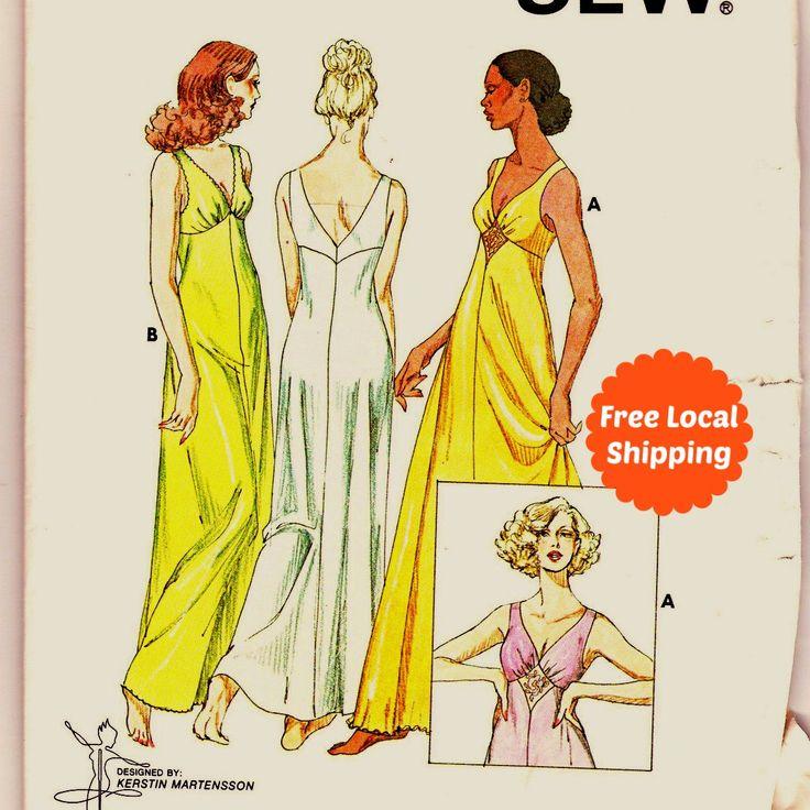 Lingerie Sewing Pattern for Women Long Nightgown Negligee Womens Sleepwear Womens Nightdress Nightie Kwik Sew 875 by PatternsFromOz on Etsy