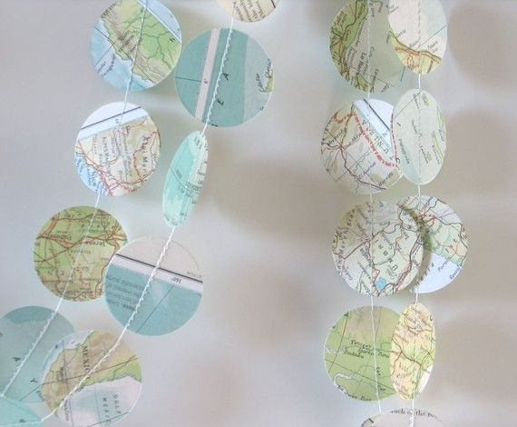 use an atlas to make a paper garland or bunting