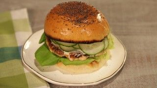 Clinton's Salmon Burger with Dill and Cucumber.  Freeze half diced salmon & processor bowl & blade. Then add ground salmon to diced. To use BBQ use griddle or 4 layers of sprayed foil. Should be very hot.