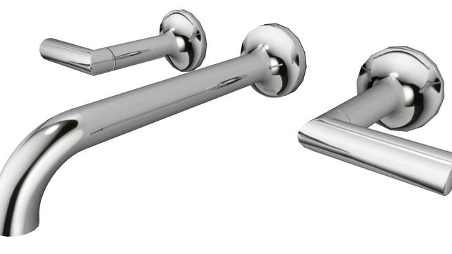 Odin™ Chrome Two Handle Wall-Mount Lavatory Faucet by Brizo |65875LF-PC - 3D Warehouse
