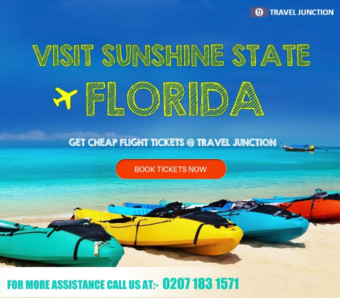 Visiting Sunshine State #Florida will be a great experience for you. Get Indulge @ Amusement Parks and numerous Serene Beaches. Book tickets now at Travel Junction and get #cheapairfare. Call at:0207 183 1571