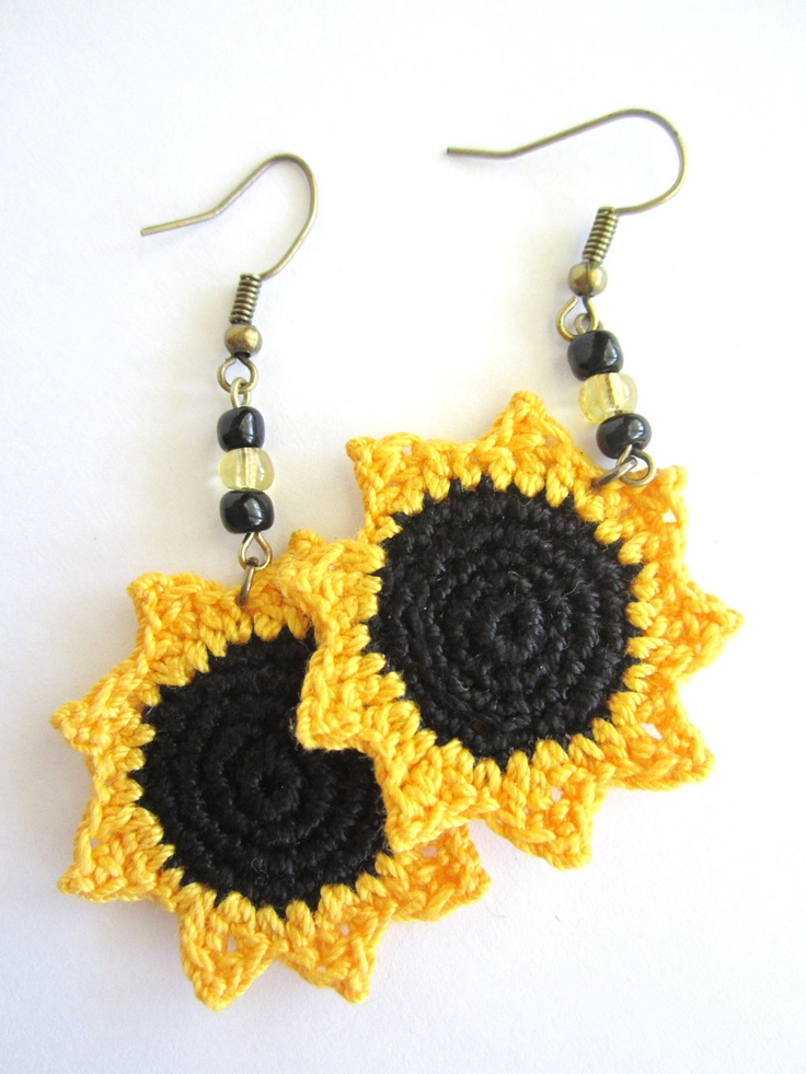 Sunflower Crocheted Earrings. $15.00, via Etsy.