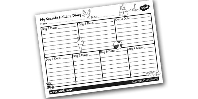 the seaside my seaside holiday diary template teaching