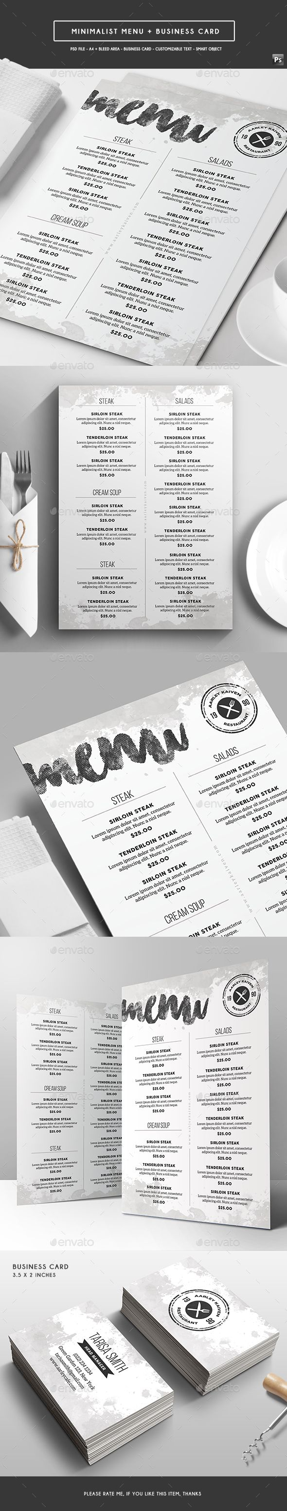 Minimalist Menu + Business Card  — PSD Template #black #fast food #chicken…