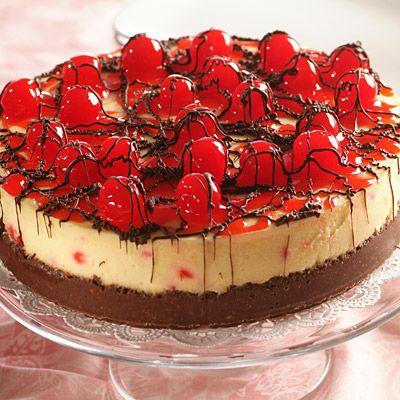 Black Forest Cheesecake (Challenging; 16 servings) #blackforest #cheesecake #dessert