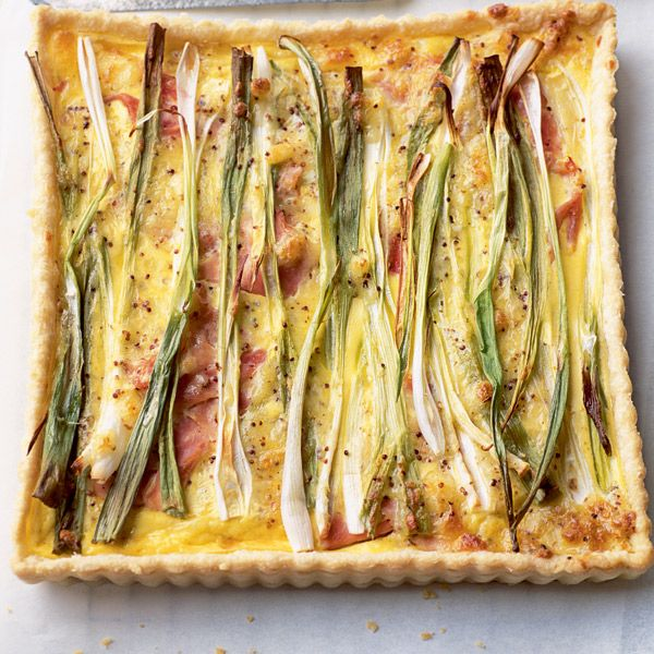 This rustic spring onion and ham tart recipe is great for wrapping and taking on a picnic as it's pretty sturdy.