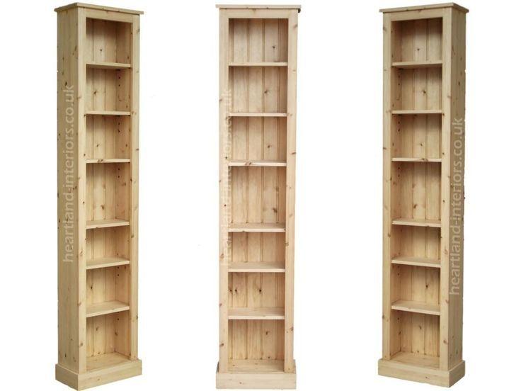 Solid Pine or Oak 7ft Tall Narrow Slim Jim Bookcase   Tall ...