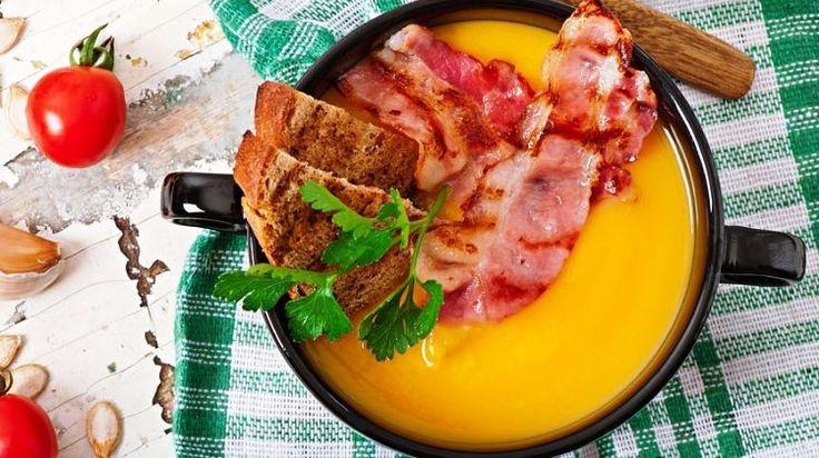 Sütőtökkrémleves rozmaringgal és baconnel