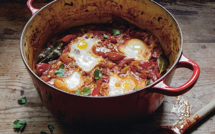 Shakshouka: Posjerte egg i spicy paprikasaus