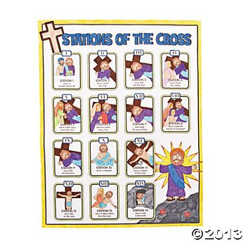 "stations of the cross for children | Color Your Own ""Stations Of The Cross"" Posters - Oriental Trading"