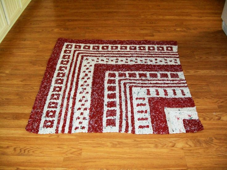 White/Brick Red Art Crochet Plastic Bag Area Rug.Crochet Plastic Bags ...