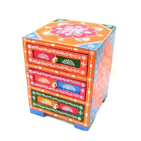 Embossed Multicoloured Wooden Drawer  Box - FOLKBRIDGE.COM   Buy Gifts. Indian Handicrafts. Home Decorations.