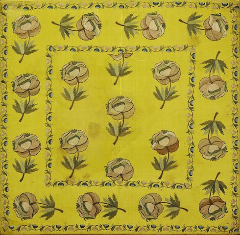 A silk embroidered yellow Panel Turkey, late 18th,early 19th Century