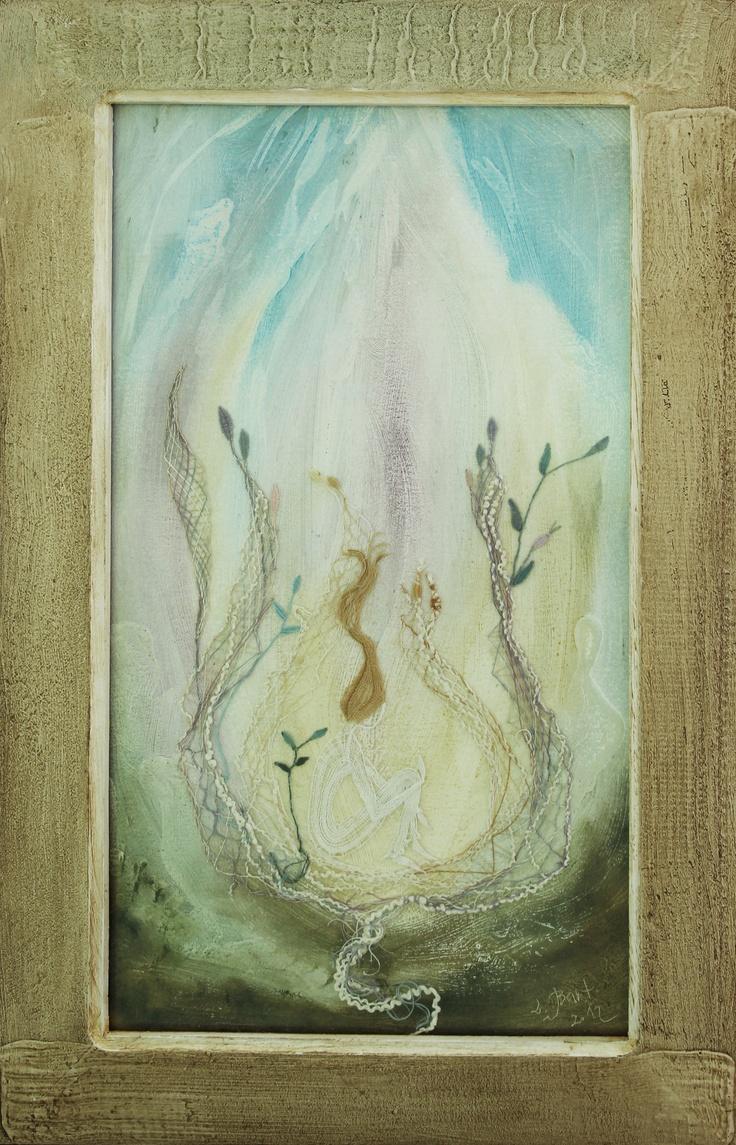 Ludmila Bartůšková, Dreaming about flower and lighting - oil on paper, bobbin lace; 52x33.5 cm