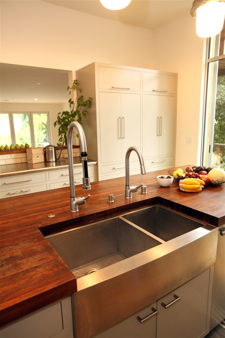Stainless Steel Farmhouse Sink With Double Faucets Kitchen Ideas Pinterest Countertops