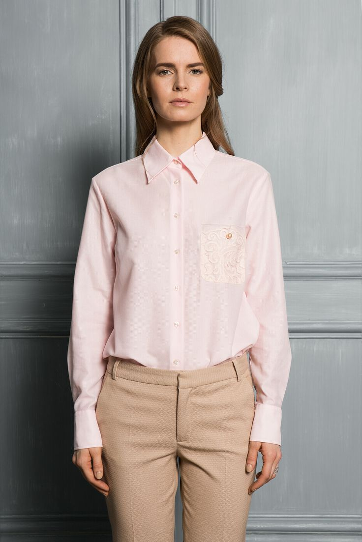 ROSE POWDER - Rose powder cotton shirt with cufflinks has been designed in Switzerland, crafted in the oldest textile manufacture in Portugal from air-cell soft cotton. Cufflinks, French lace decorative pocket, a sea pearl of is an individual signature of your original. The silhouette combines boyfriend style with casual elegancy.