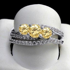 5.25 Ct Round Golden Moissanita Bridal Rings Set In Sterling Silver by JewelryHub on Opensky