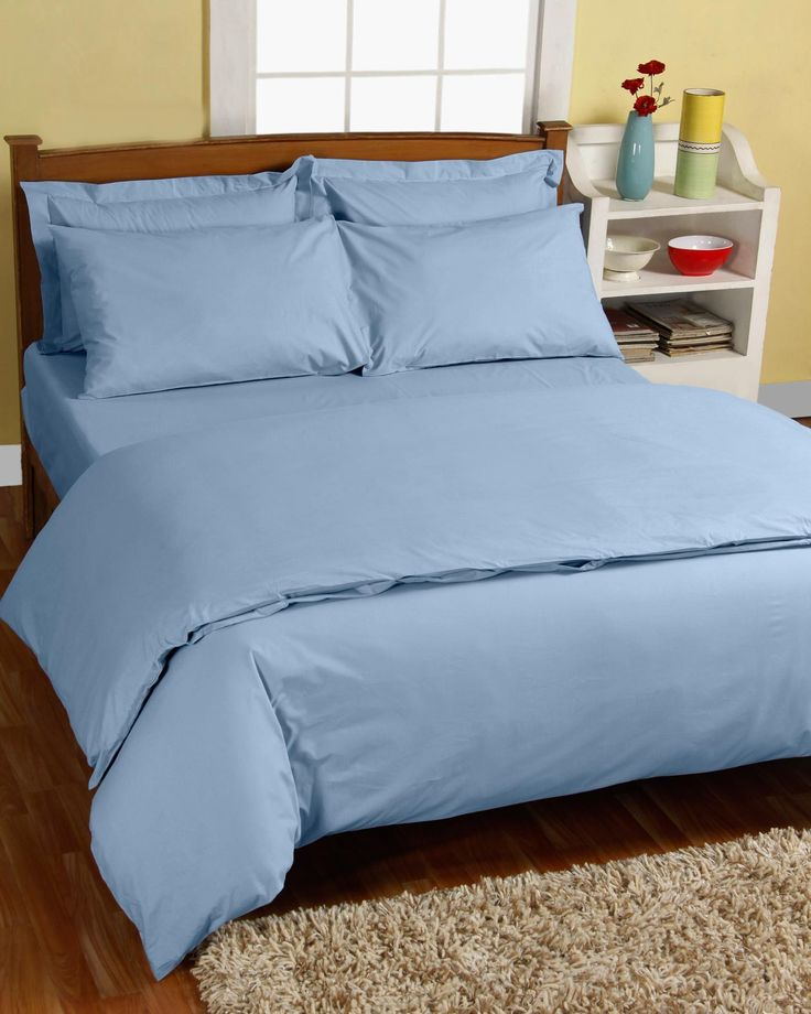Lie back and relax with our calming blue bed linen. Made from 200 thread count, 100% Egyptian cotton, our soft double duvet sets contain a duvet cover and pillow cases.  Softness with Every Wash  Our cotton duvet sets are created from 200 thread count, 100% Egyptian cotton percale, meaning that they will keep you cool in the heat and warm in the cold weather. The densely-woven fabric is ideal for sufferers of allergies and skin conditions as it is hypoallergenic and is almost