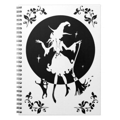 Dancing witch with broom and cat notebook - minimal gifts style template diy unique personalize design