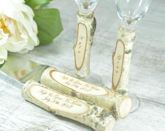Boda de gafas flautas rústico pastel que sirve establecer personalizado cuchillo Set Champagne vidrios rústico abedul tostadora conjunto