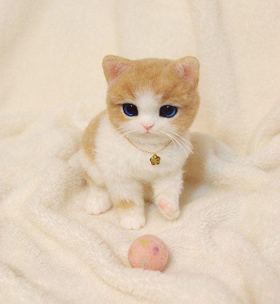 Naald vilten Kitten naald vilten kat handgemaakte door greyicecream