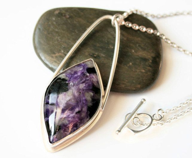 Charoite Marquee Pendant Necklace in a Large Sterling Silver Setting - Long Chain