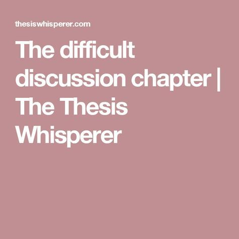 Writing dissertation chapter 1