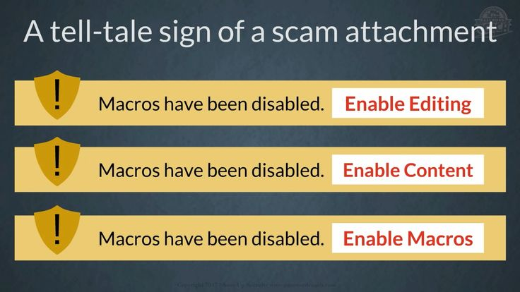 If the application gives a security warning upon opening an attachment, asking you to ENABLE something, you are looking at a tell-tale sign of a scam.  Excerpt from Module 7 – How to spot and avoid dangerous attachments: https://youtu.be/GGQgOd_e4fs #business #home #smallbiz #free