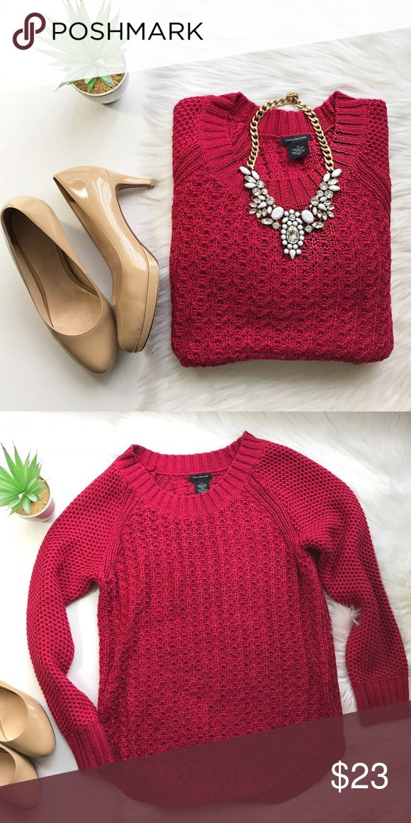 Calvin Klein Knit Sweater. Beautiful red sweater, in excellent condition Calvin Klein Sweaters Crew & Scoop Necks