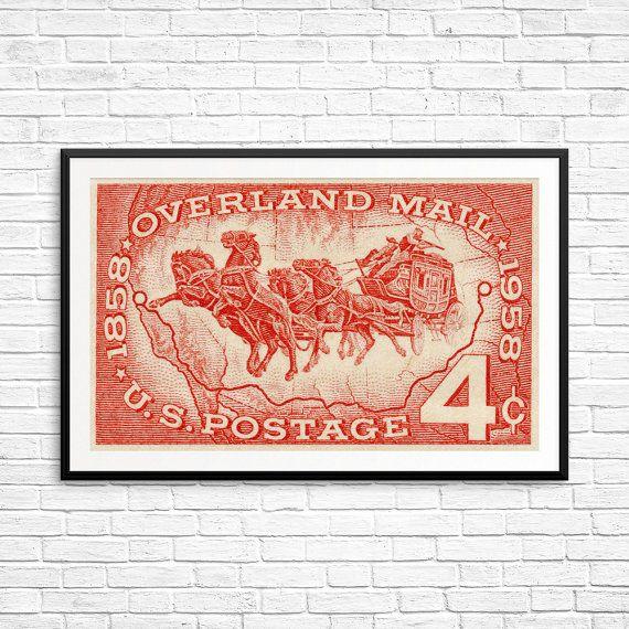 Grote print: Overland Mail, paarden, Amerikaanse postzegel, Verenigde Staten geschiedenis, verzendkosten geschiedenis, Amerikaanse stempels, USA postzegels, postzegel kunst, kunst van de jaren 1800
