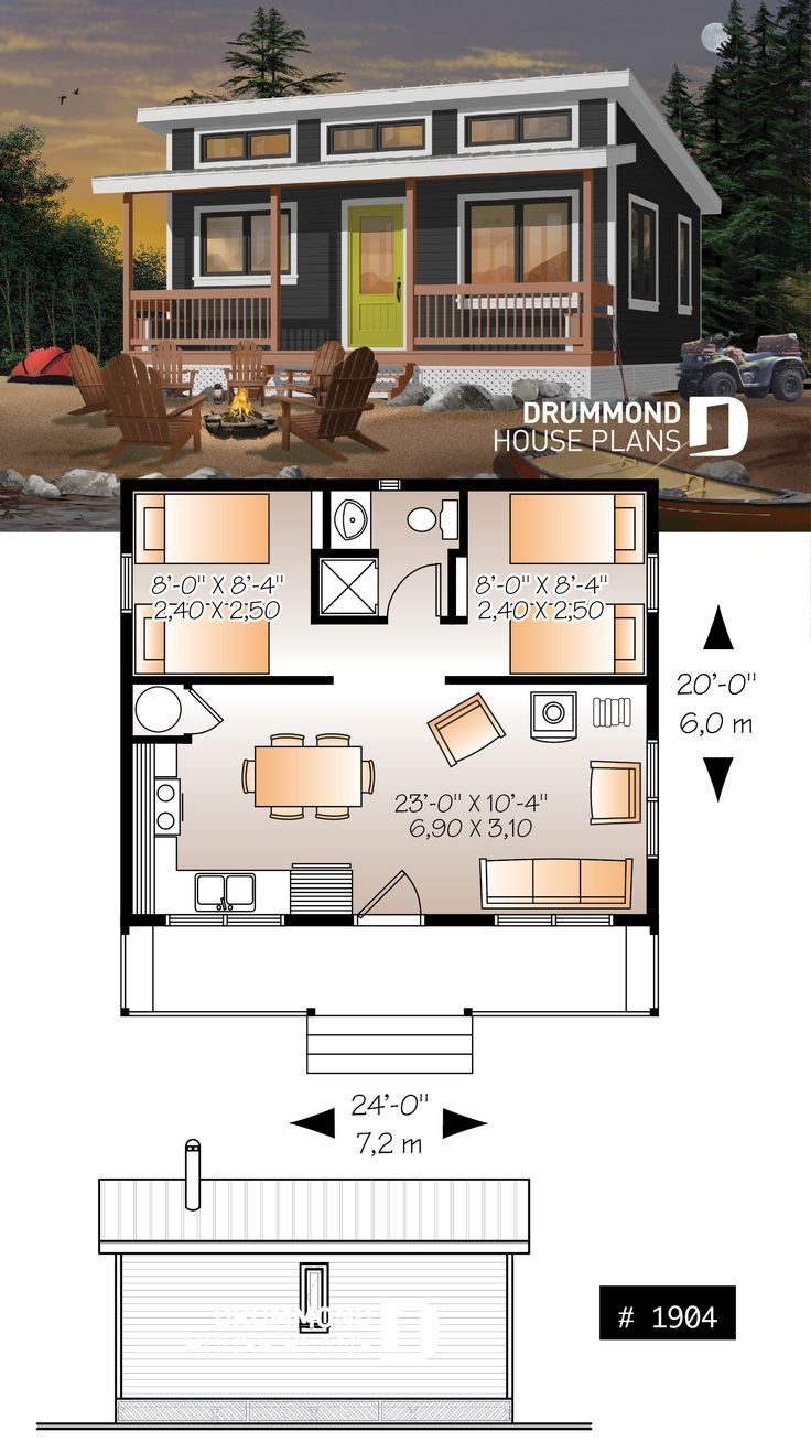 Affordable Small 2 Bedroom Cabin Plan Wood Stove Open Concept Low Budget Construction Tiny House Cabin Cabin House Plans Small House Design