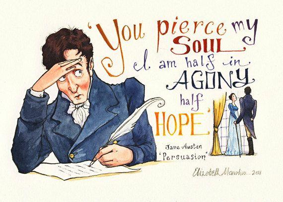 "Jane Austen, 'Persuasion' original watercolor illustration: ""You pierce my soul"". $80.00, via Etsy."