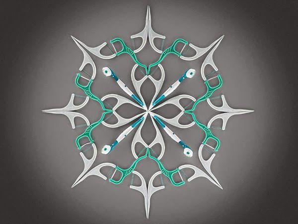Snowflake made of Dental Floss