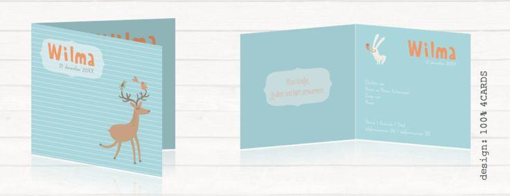 Lief geboortekaartje met een hertje #Lief en #hip #geboortekaartje met een #hertje op de voorkant. In verschillende #pastelTinten en een #streepPatroon op de achtergrond. Met een #konijn aan de binnenkant. Je kunt alle #ontwerpen #aanpassen in de #online #tool. #geboortekaartjeDieren #geboortekaartjeMaken