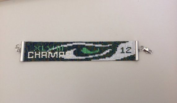 Seattle Seahawk Super Bowl Champion Loom beaded Bracelet on Etsy