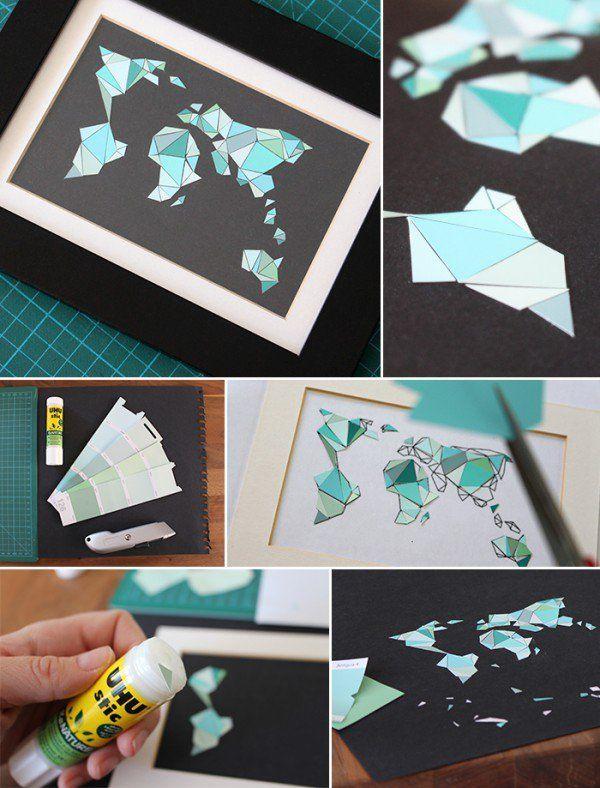 Die besten 25 weltkarte wand ideen auf pinterest - Weltkarte basteln ...