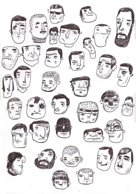 Doodle faces by Matan Liberman #poster #flat #illustration http://www.artcoursework.com/illustration.html: