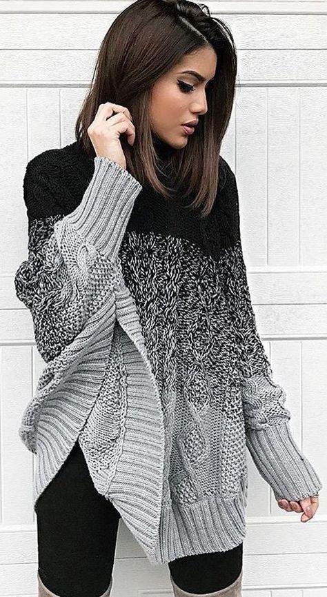 #winter #fashion / Black & Grey Wool Knit / Black Leggings