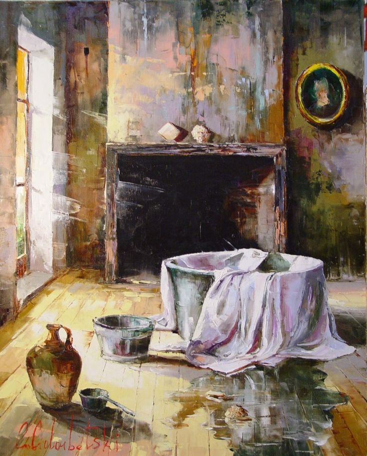 Russian artist Gleb Goloubetski | Interior with bath 100x80