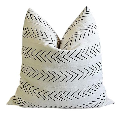 Bohemian Chic Jumbo 32 Black White Tribal Pillow Floor Cushion On Chairish Com Pillows Black Pillows Black And White Pillows