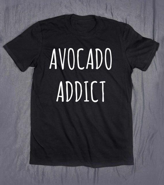 Avocado-Addict Slogan Tee Essen Frucht Vegan Tumblr Top T-shirt