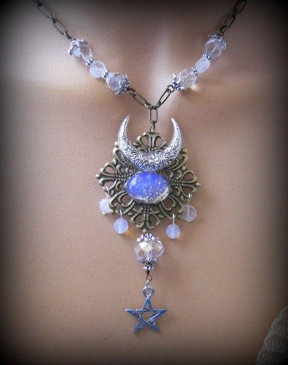 Diana s Moon Pentagram,Strega Inspired Vintage Style Rainbow Moonstone ,Wicca,Pagan,New Age,Goddess Symbol,Renaissance ,Wiccan Jewelry animegirl22