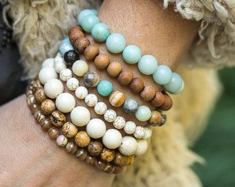 Braccialetti di perline, Stretch bracciali, Bracciale in Amazzonite, accatastamento bracciali, Bracciale legno di sandalo, gioielli spiaggia, Boho braccialetti, Boho
