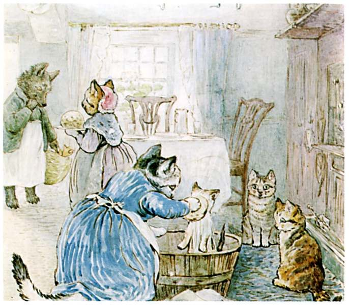 The Tale of Samuel Whiskers - Tom Kitten gets a good bath. Beatrix Potter