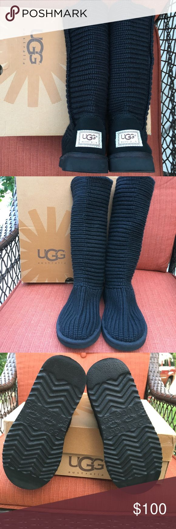 TALL KNIT UGGS LIKE NEW CONDITION Black tall knit Uggs. 🎀price firm UGG Shoes Winter & Rain Boots